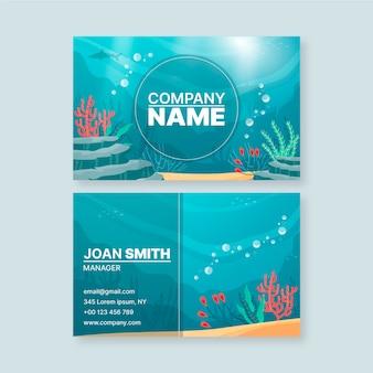 Cartão de visita com elementos oceanos