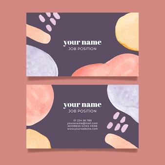 Cartão de visita com elementos pintados à mão