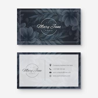 Cartão de visita com estilo da flor da aguarela