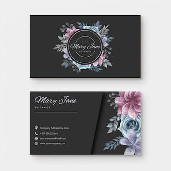 Cartão de visita com estilo floral aquarela
