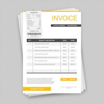 Cartão de visita com fatura. conceito de serviço ao cliente. pagamento online. pagamento de taxa. modelo de fatura. ilustração das ações.