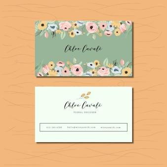 Cartão de visita com floral colorido