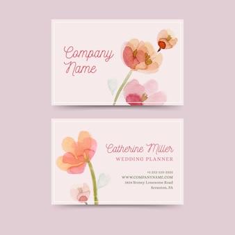 Cartão de visita com flores em aquarela