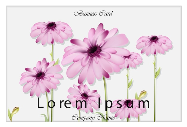 Cartão de visita com flores margaridas ilustração desenhos realistas