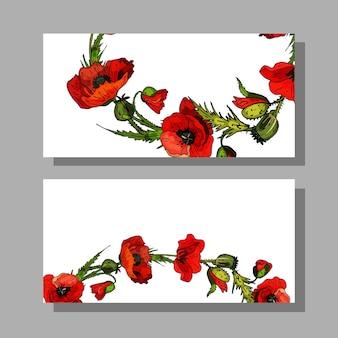 Cartão de visita com flores papoilas vermelhas, folhas verdescópia espaçocartões florais decorativos