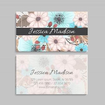 Cartão de visita com flores rosa e menta.