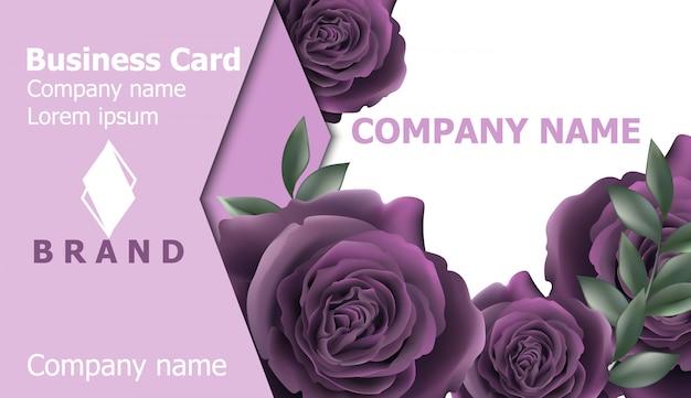 Cartão de visita com flores rosas violetas