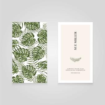 Cartão de visita com folhas verdes