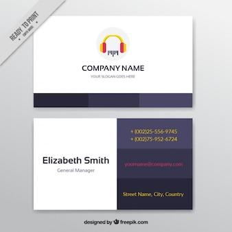 Cartão de visita com fones de ouvido para um estúdio de música
