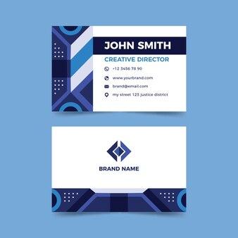 Cartão de visita com formas abstratas azuis