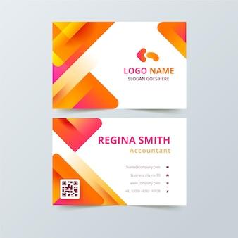 Cartão de visita com formas abstratas laranja