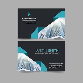 Cartão de visita com formas minimalistas e modelo de foto