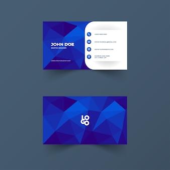 Cartão de visita com formas poligonais e cor azul