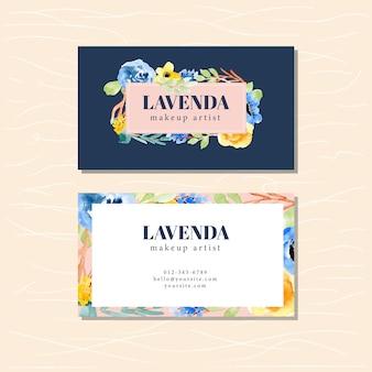 Cartão de visita com fundo aquarela floral
