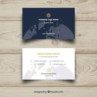 Cartão de visita com globo mundial