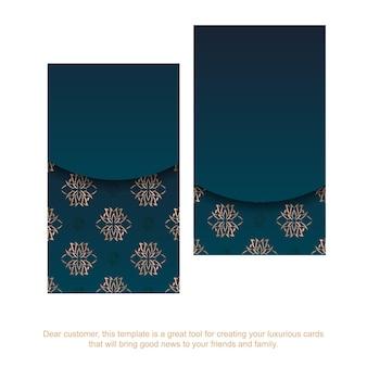 Cartão de visita com gradiente de cor azul com ornamento de ouro mandala para seus contatos.