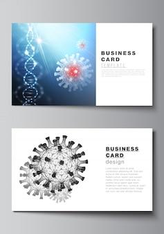 Cartão de visita com ilustração 3d do coronavírus. covid-19, infecção por coronavírus.