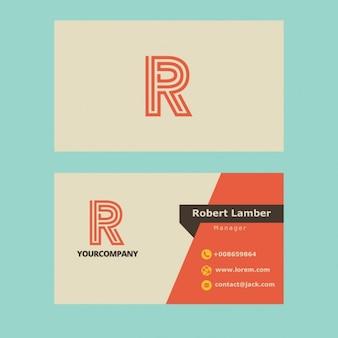 Cartão de visita com letra r