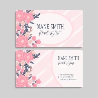 Cartão de visita com lindas flores cor de rosa. Modelo