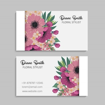 Cartão de visita com lindas flores cor de rosa