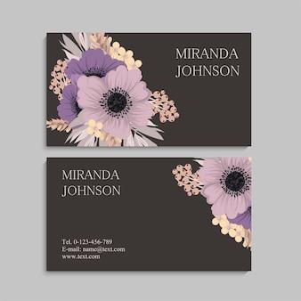 Cartão de visita com lindas flores. modelo