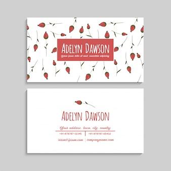 Cartão de visita com lindas flores vermelhas.