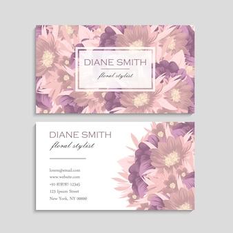 Cartão de visita com lindas flores