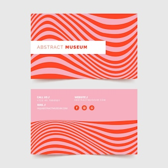 Cartão de visita com linhas distorcidas vermelhas