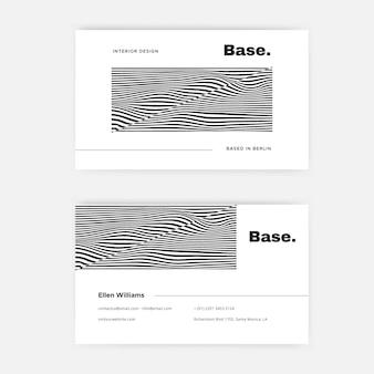 Cartão de visita com linhas distorcidas