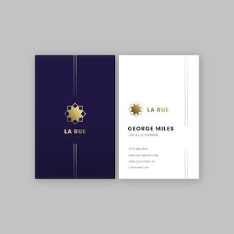 Cartão de visita com logotipo dourado