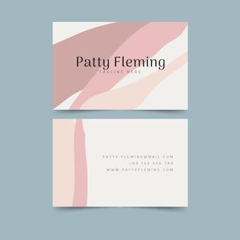 Cartão de visita com manchas de cor pastel abstraem pacote de modelo
