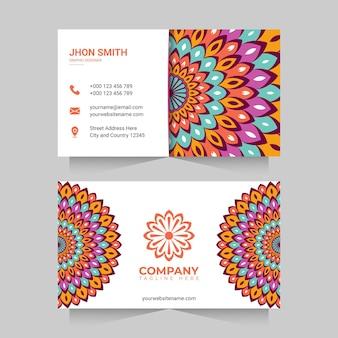 Cartão de visita com mandala colorida
