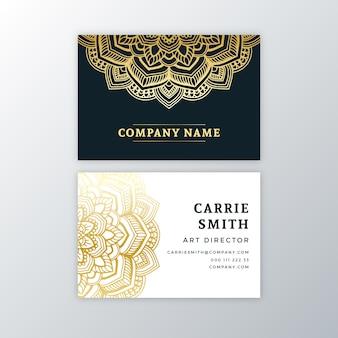 Cartão de visita com mandala dourada