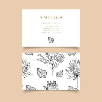 Cartão de visita com mão desenhadas flores