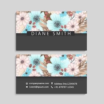 Cartão de visita com modelo de belas flores