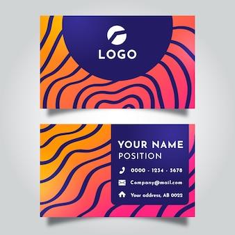 Cartão de visita com modelo de linhas distorcidas