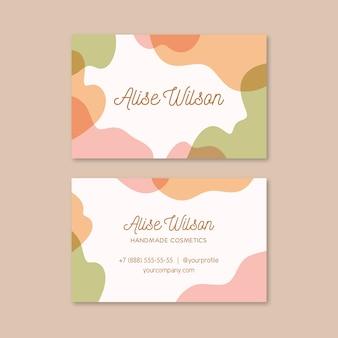 Cartão de visita com modelo de manchas de cor pastel