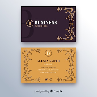 Cartão de visita com modelo de ornamentos de ouro