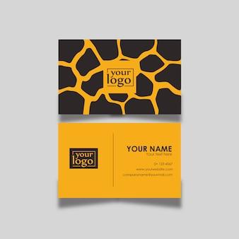 Cartão de visita com padrão de chita preto e laranja