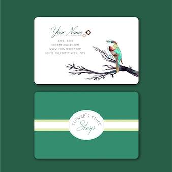 Cartão de visita com pássaro de cor de água