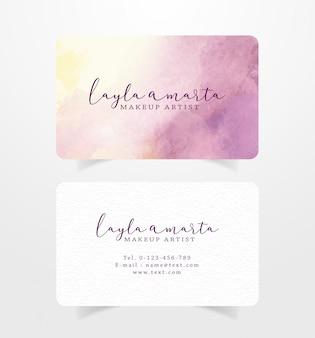 Cartão de visita com pinceladas de rosa e amarelo modelo aquarela