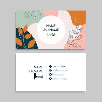 Cartão de visita com plantas.