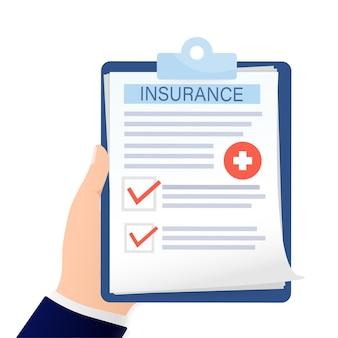 Cartão de visita com seguro médico mão de homem para projeto médico cartão de visita