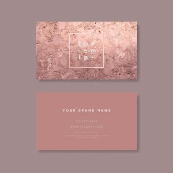 Cartão de visita com textura de mármore rosa cintilante