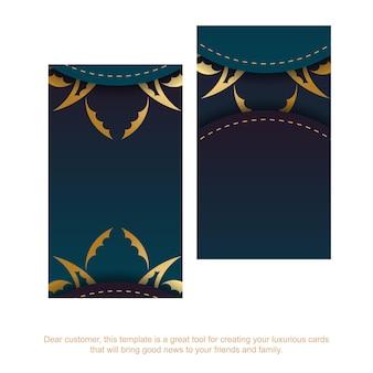 Cartão de visita com um gradiente de cor azul com um enfeite de mandala de ouro para o seu negócio.