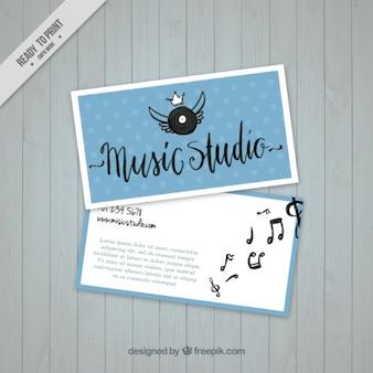 Cartão de visita com um vinil em um estúdio de música