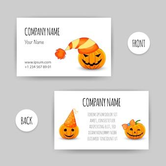 Cartão de visita com uma abóbora de halloween. estilo dos desenhos animados. ilustração.