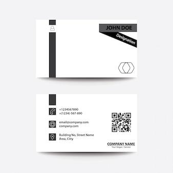 Cartão de visita comercial de estilo preto e branco limpo