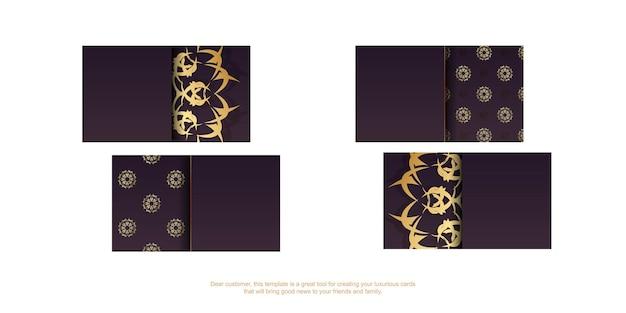 Cartão de visita cor de vinho com enfeites de ouro grego para a sua marca.