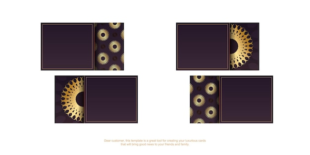 Cartão de visita cor de vinho com enfeites de ouro vintage para a sua marca.